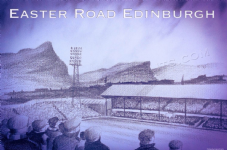 Easter Road graphite  scene A3 approx poster print